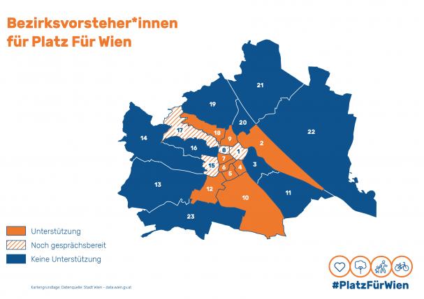 Karte der Bezirke und Status hinsichtlich PlatzFürWien-Forderungen