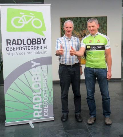 Vorstandsvorsitzende der Radlobby Oberösterreich (vlnr. Lukas Beurle (Stv), Gerhard Fischer)