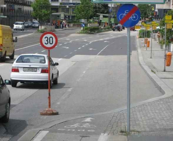 An dieser Stelle endet der Radweg in Urfahr