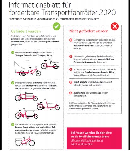 Infoblatt zur Transportradförderung 2020