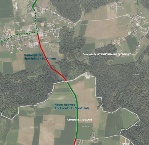 Lageplan der Radwege zwischen St. Primus im Norden und Rückersdorf im Süden