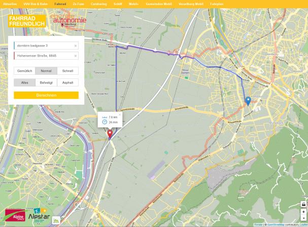 Online Routenplaner Vorarlberg