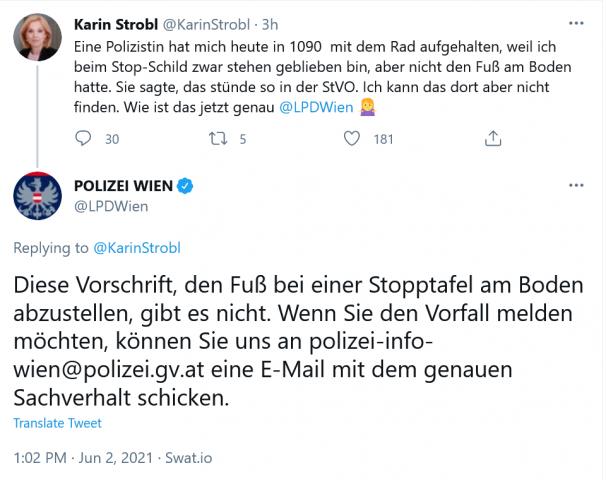 LPD Wien auf Twittter zur inexistenten Fuß-am-Boden-Regel