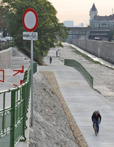 Wienflussweg Verkehrszeichen