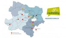 Landkarte Niederösterreich mit Radlobby-Gruppen