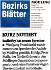 Bezirksblätter Mödling 22.1.2014 - Bericht über neuen Radlobbysprecher