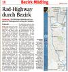 Zeitungsausschnit mit Artikel über den von der Radlobby Mödling geforderten Südbahn-Radhighway