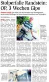 "NÖN-Artikel ""Stolperfalle Randstein: OP, 3 Wochen Gips"""
