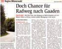 "NÖN-Artikel ""Doch Chance für Radweg nach Gaaden"""